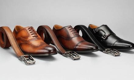 Vincent Cavallo Men's Dress Shoe and Matching Belt Combo