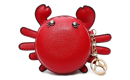 QZUnique Women's PU Leather Crab Shape Purse Mini Bag Key Chain (Goods Automotive) photo
