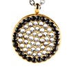 Gold Plated Stainless Steel Black and Clear CZ Circle Necklace