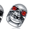 Stainless Steel Gothic Skull Ring with Crystal Eyes