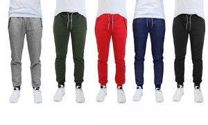 Men's Marled Tech-Fleece Joggers with Zippered Pockets (2-Pack)