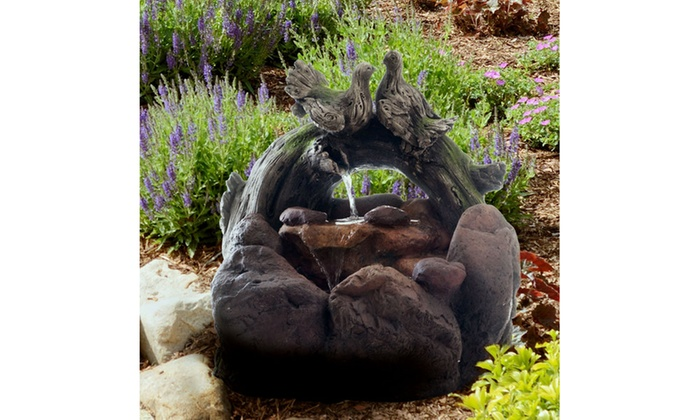 Outdoor Water Fountain With Cascading Stone Waterfall Wood Logs