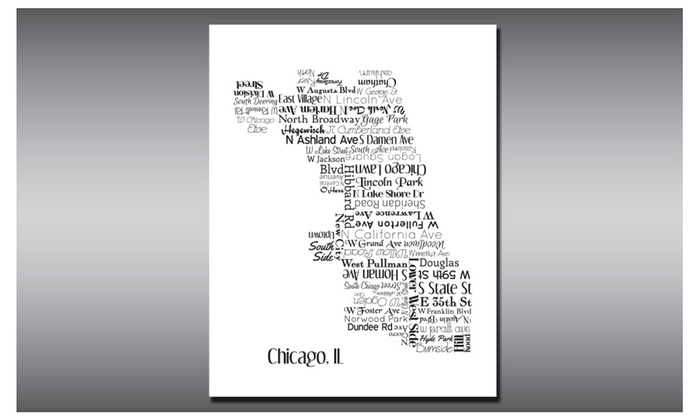 Chicago Map Neighborhoods Typography Art Print Cities - Chicago neighborhood map art