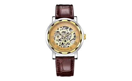 Classic Men's Leather Dial Skeleton Mechanical Wrist Watch caaa24d0-bf63-4630-bde4-abb3e9ac2f73