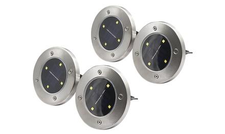 4 Disk Solar Powered Path Lawn Lights 4 LEDs Indoor Outdoor Landscape