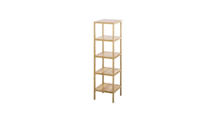 Bamboo Bathroom Shelf 5-Tier Tower Free Standing Rack Storage 325 ...