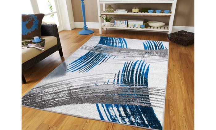Modern Gray Abstract Area Rugs Living Room Rug 8x10 Blue Hallway Runner Rugs