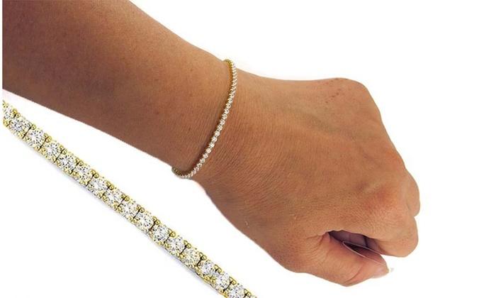 09d0baaa55e760 Italian Solid 14K Yellow Gold Swarovski Crystal Tennis Bracelet ...