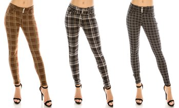 LA12ST Women's Stretchy Plaid Checker Trouser Leggings with Button Fur Pants