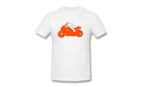 ANXIAO Cool Man Rides Motorcycle Tee For Man White d137b20d-8801-47a0-8281-242d5b09b6d5