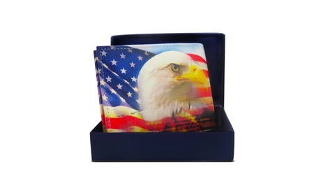 AFONiE Handcrafted USA Eagle Print Leather Bi-fold Wallet 898a3026-d179-441d-b27d-1e03ff943e90