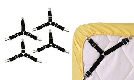 4 PCS Triangle Suspenders Gripper Holder Straps Clip for Bed Sheets Mattress