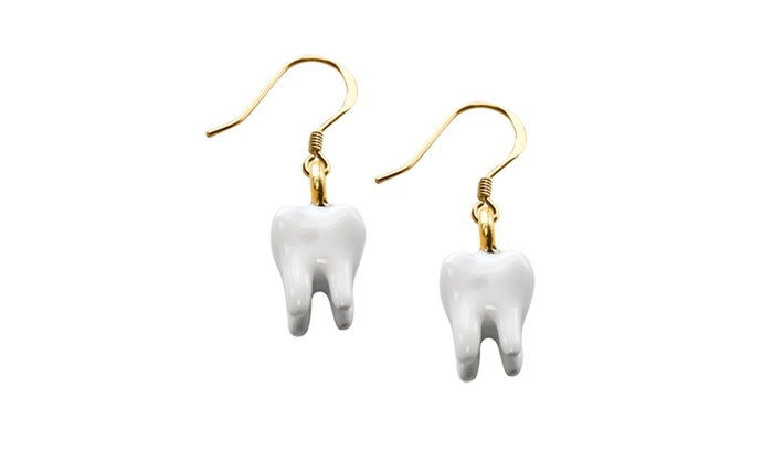 Clickhere2shop: Whimsical Tooth Charm Earrings In Gold