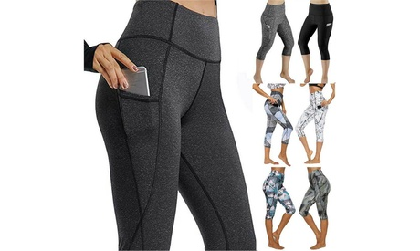 Women Yoga Gym Leggings With Pocket Capri Fitness Workout Sport Pants