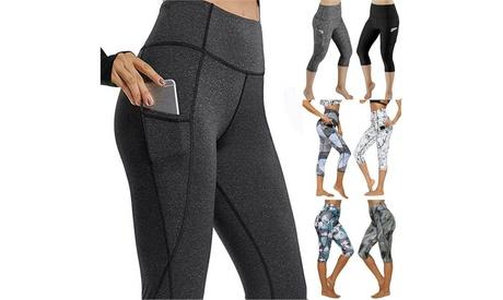 Women Yoga Gym Leggings With Pocket Capri Fitness Workout Sport Pants