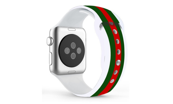 f344cbb0304 Silicone GUCCI Pattern Replacement Band For Apple Watch 42MM