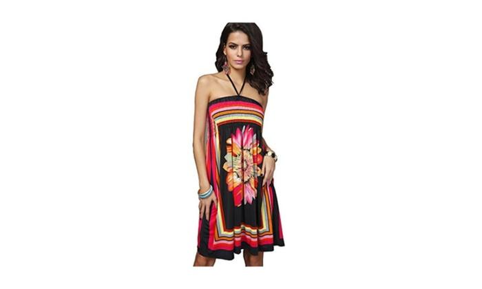 Women's Sunflower Printing Dress Beach Sleeveless Cover Ups