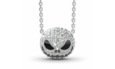 The Nightmare Before Christmas Skull Jack Necklace Crystal Pendant Jewelry