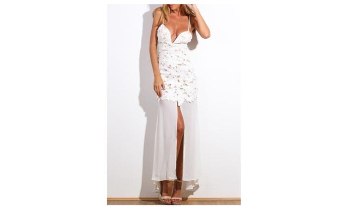 Women's White Flower Applique Maxi Dress – White / one size