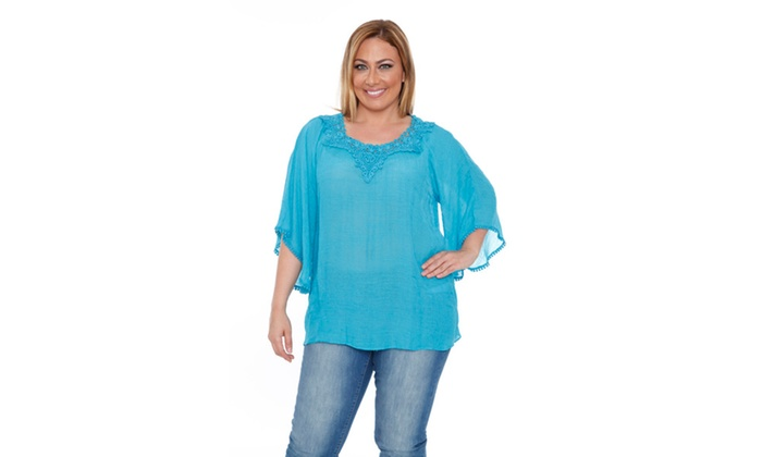 Teal 'Anabel' Crochet Bell Sleeve Blouse
