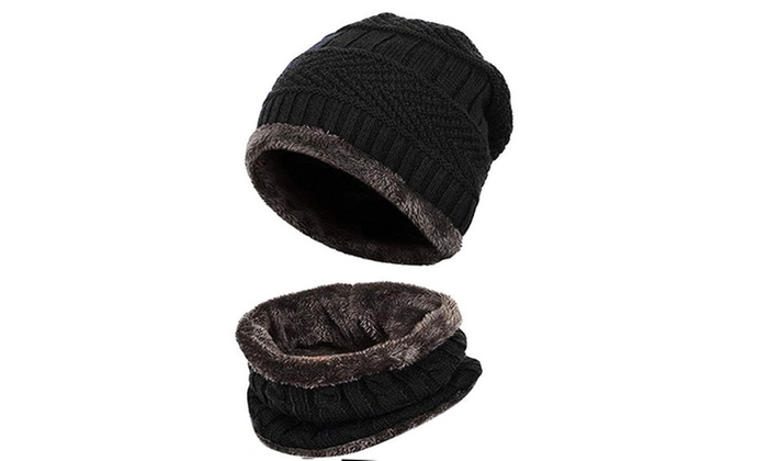 80298265d172b Men Beanie Hat Scarf Set Winter Warm Knit Hat and Infinity Scarf