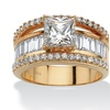 3.63 TCW Cubic Zirconia 18k Gold over Silver Ring