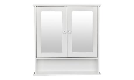 Double Door Mirror Indoor Bathroom Wall Mounted Cabinet Shelf White