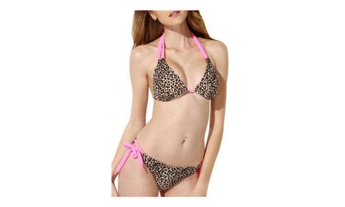 Women's Fashion 2 Pieces Leopard Print Bra Bikini Set Swimwear