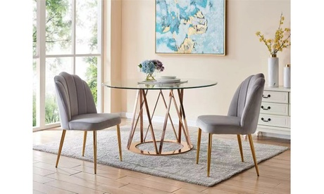 Chesnie Channel Quilted Velvet Upholstered Dining Chair (Set of 2)