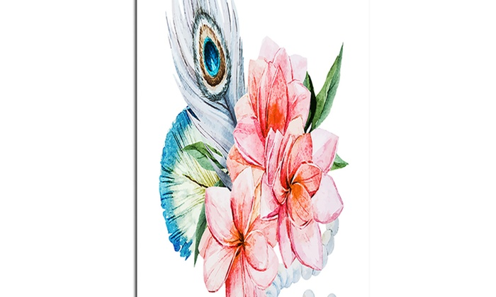 Flowers and peacock feather floral canvas art print for Where can i buy peacock feathers craft store