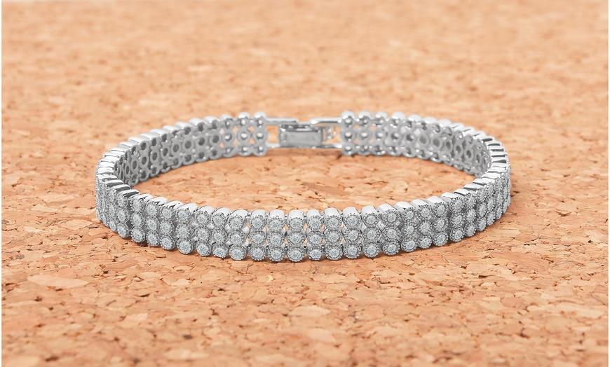 Triple Row Crystal Tennis Bracelet with Cubic Zirconia Stones