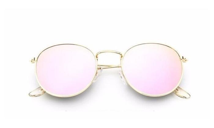 retro round  alloy miror sunglasses