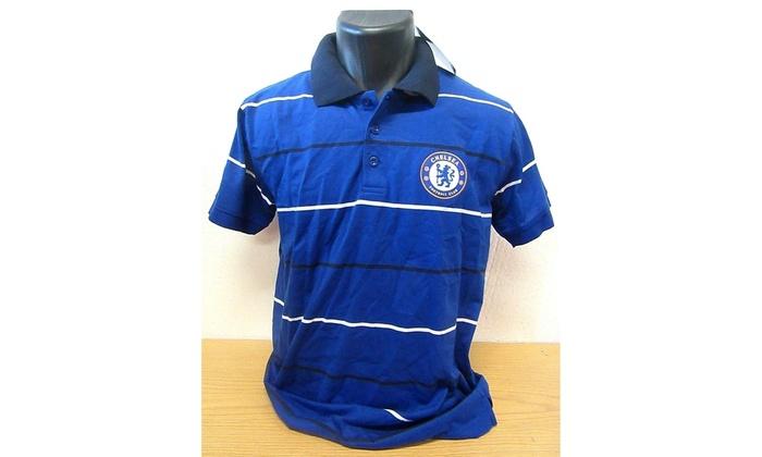 reputable site 2cac4 0c7d7 CHELSEA Football Club Men's Logo POLO Shirt BLUE Striped - Small