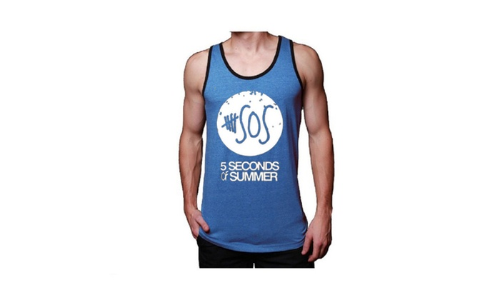Mens Soft Jersey White 5 Sos Blue Tank Top