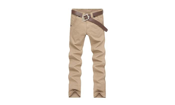 Men's Slim Fit Casual Simple Straight Solid Pants