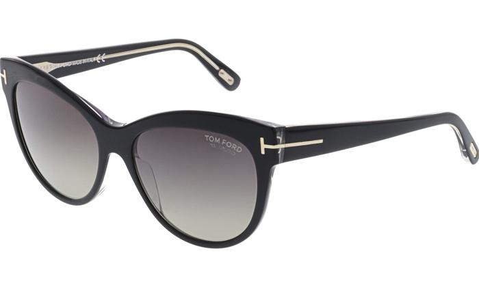 192310979f0 Tom Ford Women s Polarized Lily FT0430-05D-56 Black Cat Eye Sunglasses