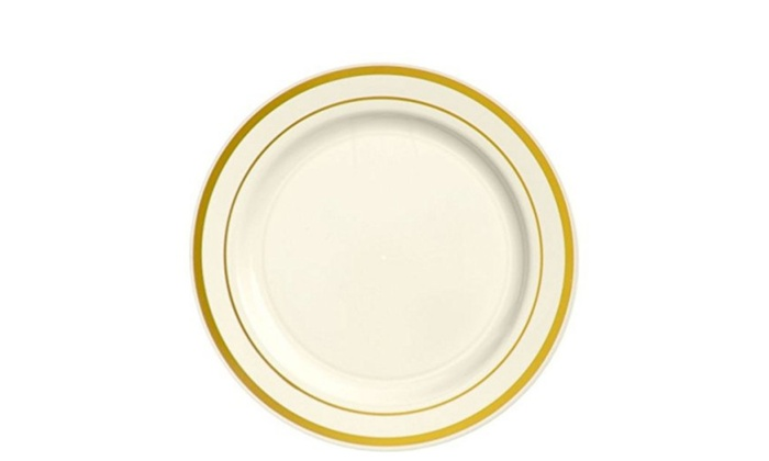 Amscan 438952 Cream Gold Trimmed Premium Plastic Lunch Plates | Groupon