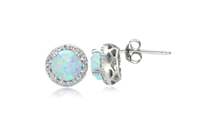White Opal And Topaz Halo Stud Earrings In Sterling Silver Groupon