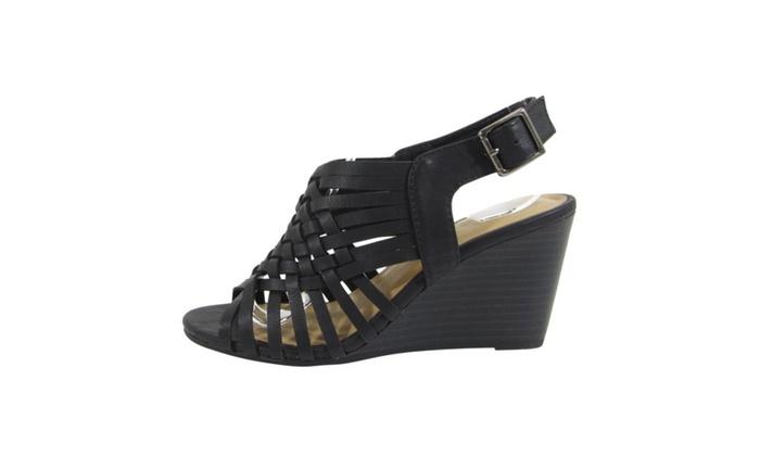 BestonID05 Women Weaved Cutout Cage Slingback Ankle Strap Wedge Sandal