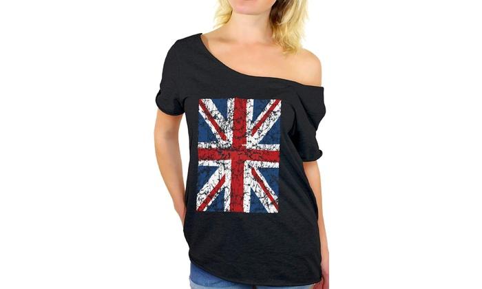 508dc68db4497a Awkward Styles Women s Union Jack Flag Off Shoulder Tops T-Shirt