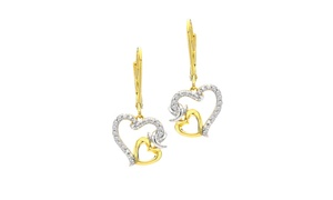 City of Hope 1/10Cttw Diamond Heart Dangle Earrings