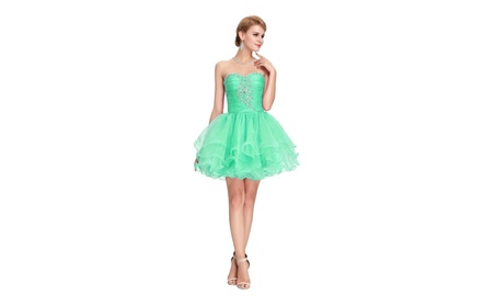 65f1245c4 Short Evening Dress Mint Green Sweetheart Neck Lace-Up Back Size 4 (Goods  Women's