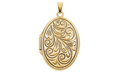 14K Yellow Gold-Plated Sterling Silver Oval Locket b435e912-5754-4603-85b3-07538cb39879