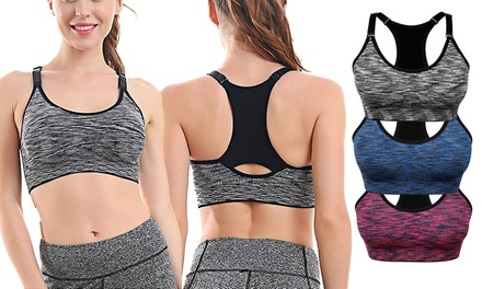 1-3 Pack Women Racerback Sports Bras Space Dye Seamless Stretchy Removable Pads