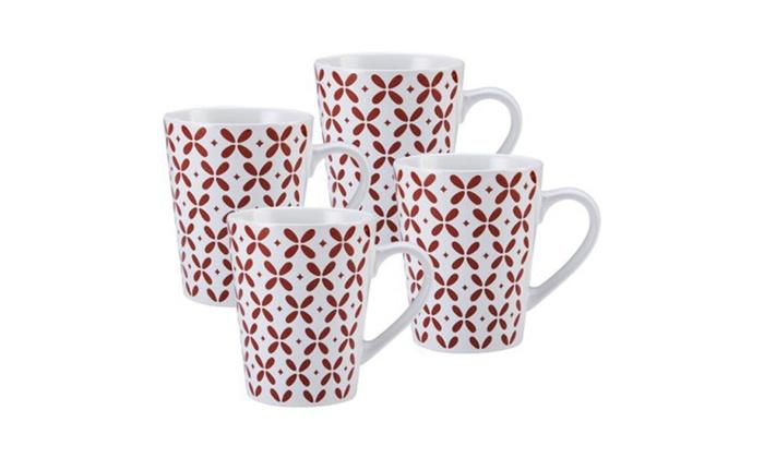 Red And White Coffee Mug Set Of 4