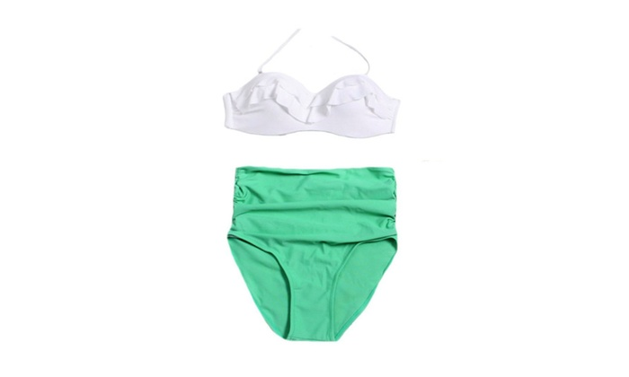 Women's Retro High Waist Halter Bikini Sets