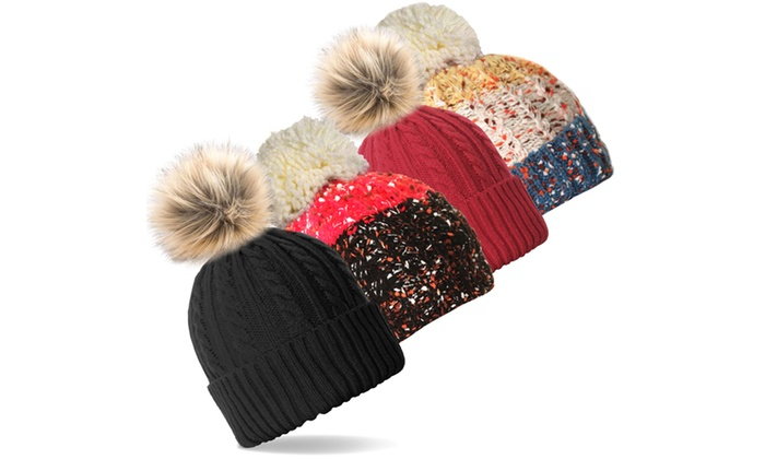 6fae8a38021ee 2-Pack  Women s Polar Extreme Insulated Sherpa Lined Beanie Hats with Pom  Pom