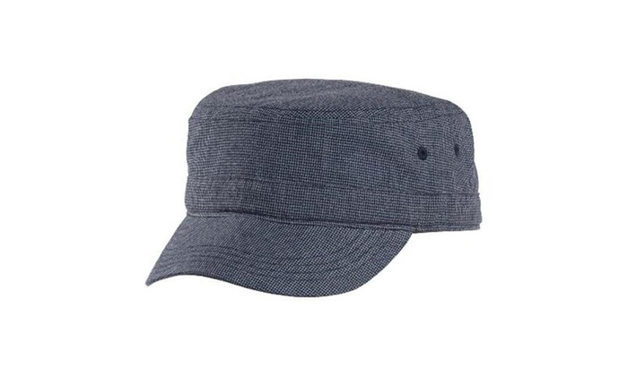 0653c00add2cf4 District DT619 Houndstooth Military Hat New Navy & Blue - One Size  Multi-color Label original.jpg 100% cotton lining