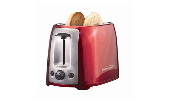 BRENTWOOD TS-292R 2-Slice Cool Touch Toaster Red /& Stainless Steel