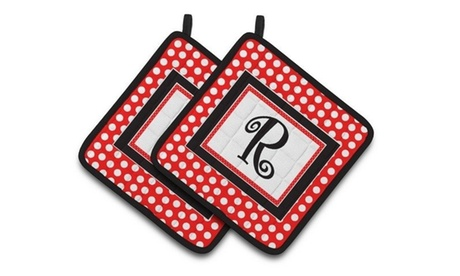 Carolines Treasures CJ1012-RPTHD Letter R Initial Monogram Red Black Polka Dots photo